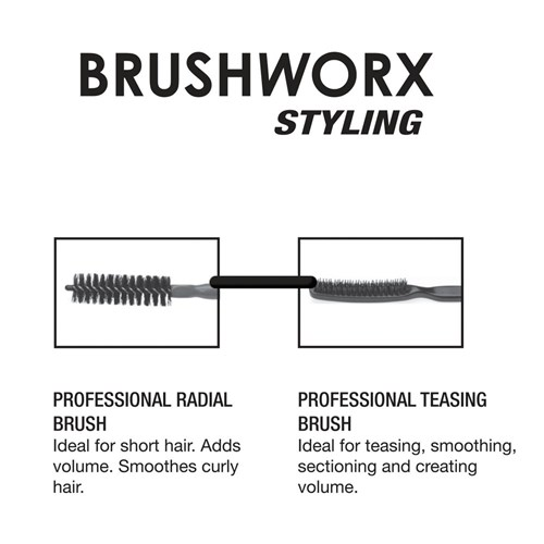 Brushworx Styler Porcupine 3 Row Teasing Hair Brush - Black