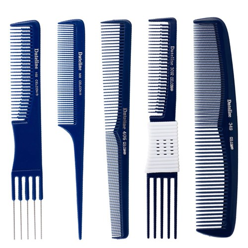 Dateline Professional Blue Celcon 401 Tapered Styling Comb - 17.5cm