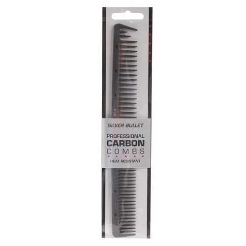 Silver Bullet Carbon Wide Teeth Cutting Hair Comb Package