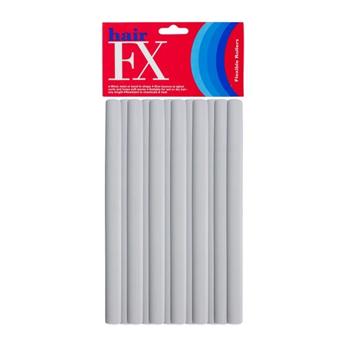 Hair FX Long Flexible Rollers - Grey, 12pk