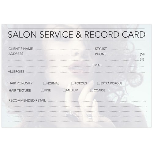 Dateline Professional Hairdressing Record Cards