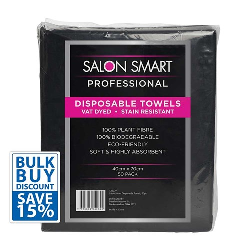 Salon Smart Bulk Buy Disposable Towels Black 100pk